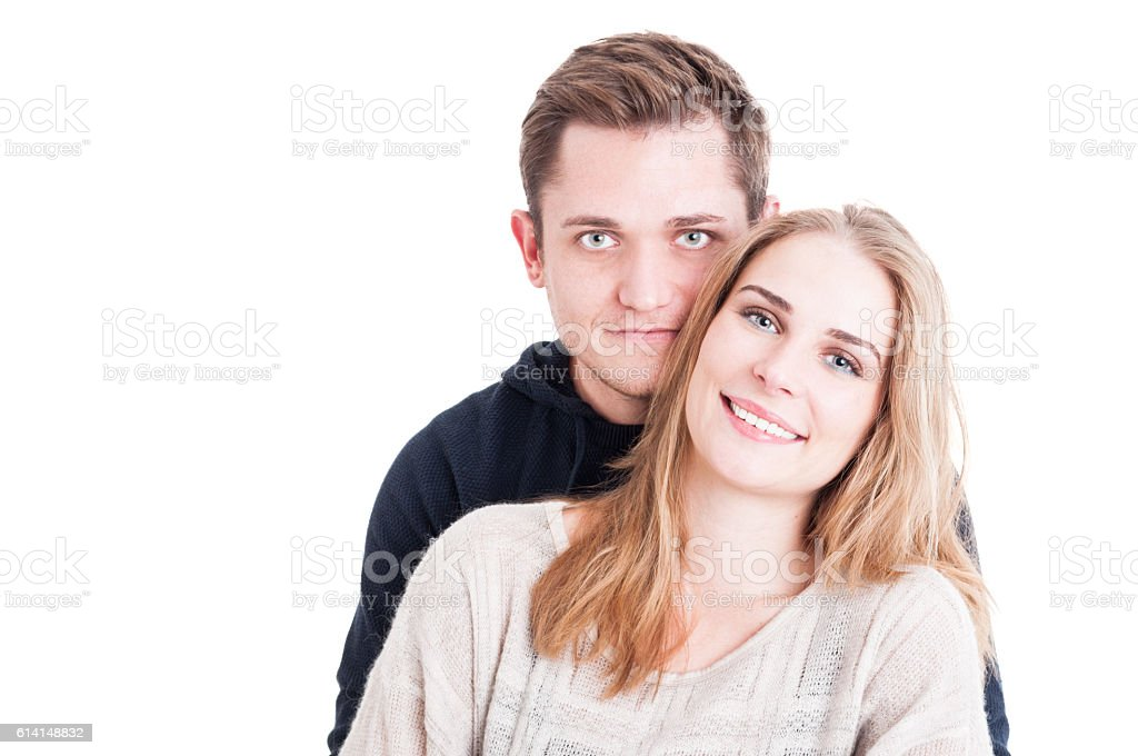 Portrait of happy beautiful couple smiling and posing stock photo