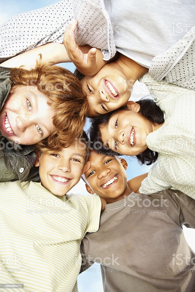 Portrait of happy boys and girls having fun outdoors royalty-free stock photo