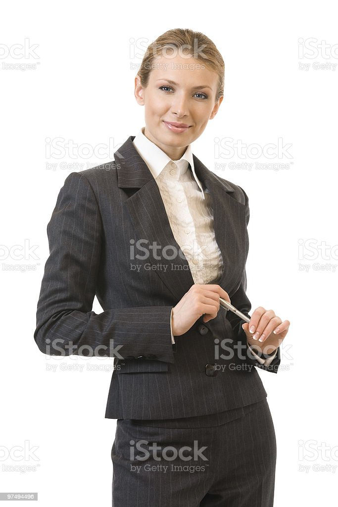 Portrait of happy businesswoman, isolated on white royalty-free stock photo