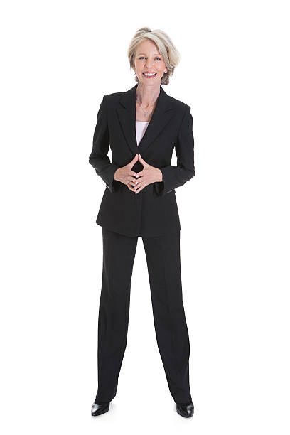portrait of happy businesswoman - woman suit stock photos and pictures