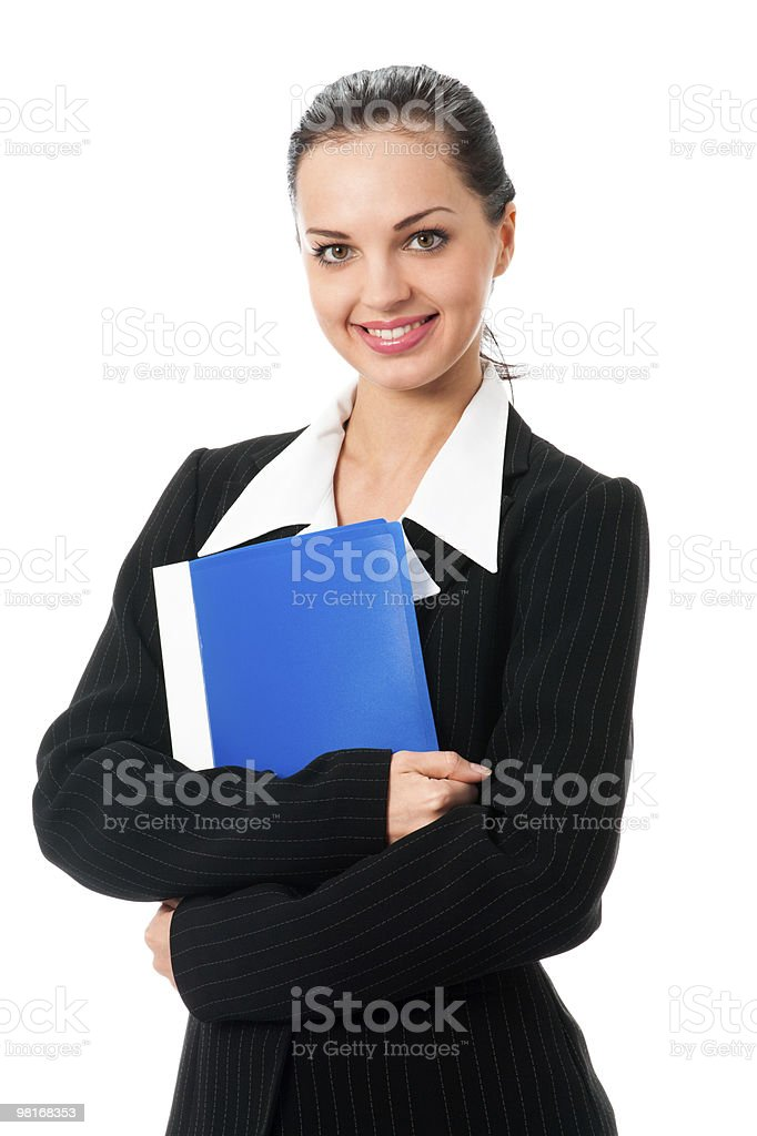 Portrait of happy businesswoman with folder, isolated on white royalty-free stock photo