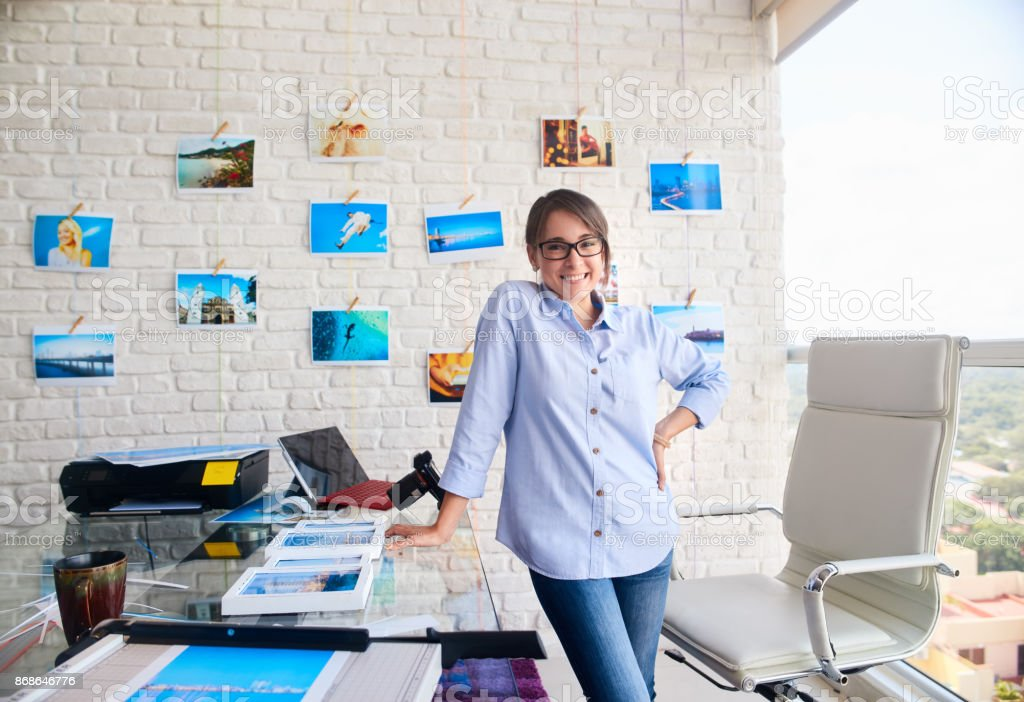Portrait Of Happy Confident Woman Girl Working As Artist stock photo