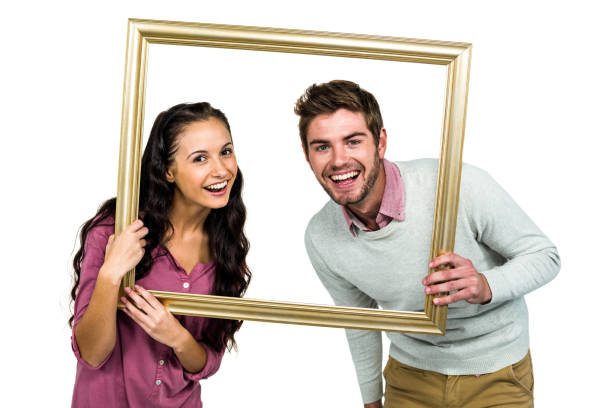 Royalty Free Cute Couple Picture Frame Frame Pictures, Images and ...
