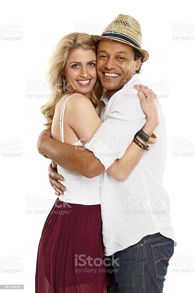 Portrait of happy couple hugging each other royalty-free stock photo