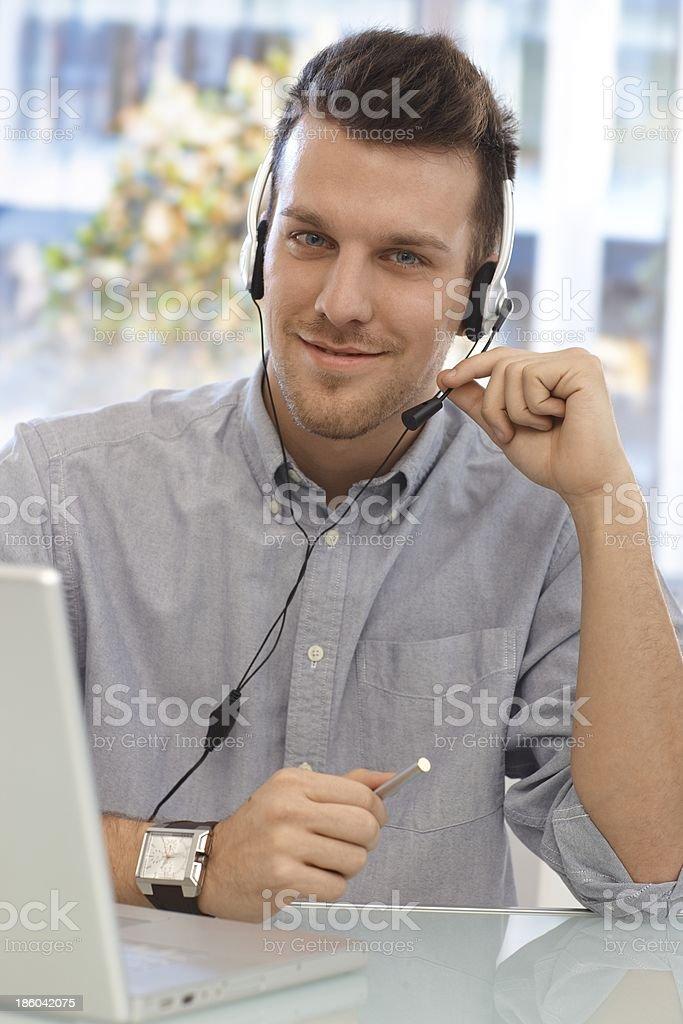 Portrait of happy dispatcher royalty-free stock photo
