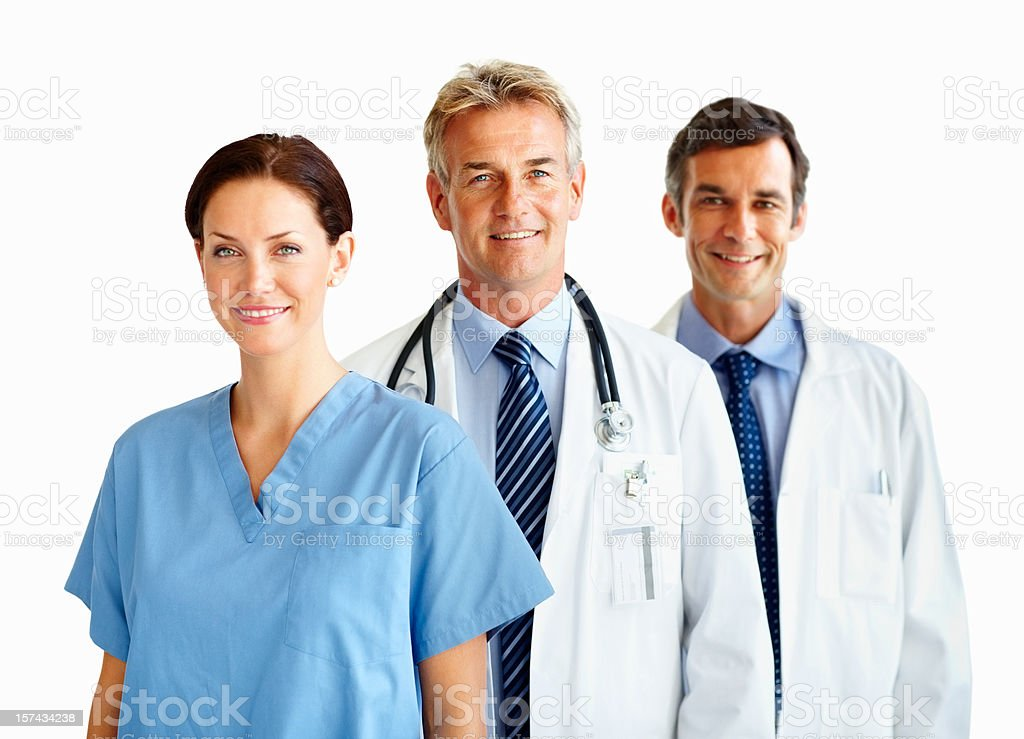 Portrait of happy doctors standing in a row royalty-free stock photo