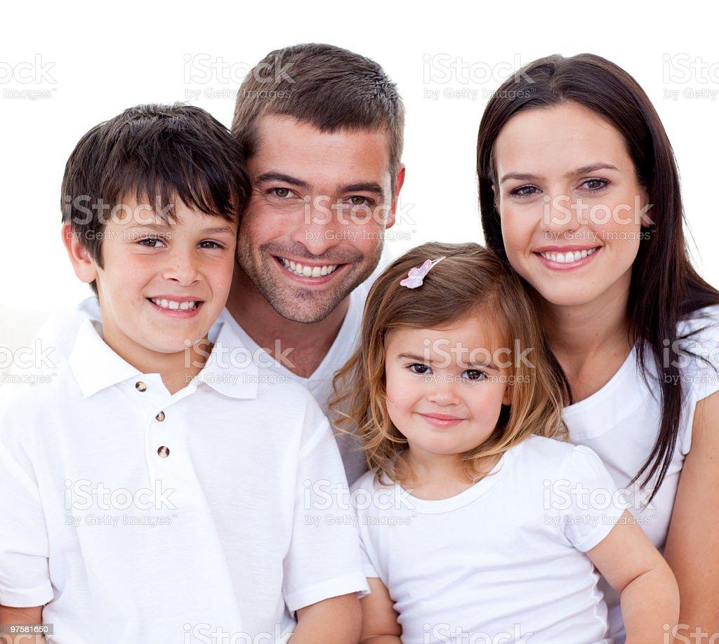 Portrait de famille heureuse souriant photo libre de droits