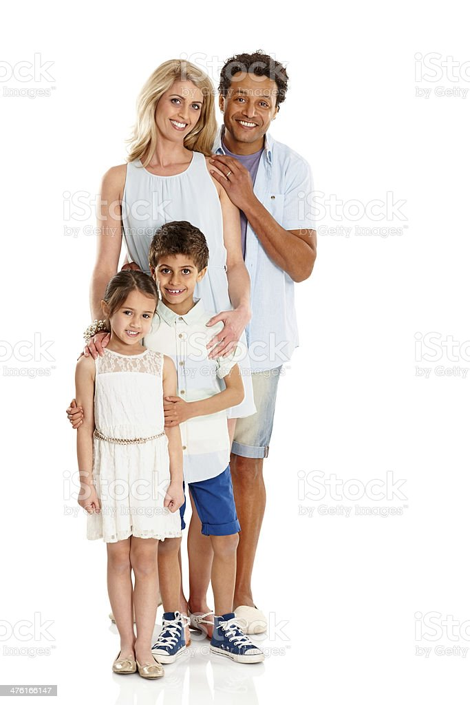 Portrait of happy family together on white royalty-free stock photo