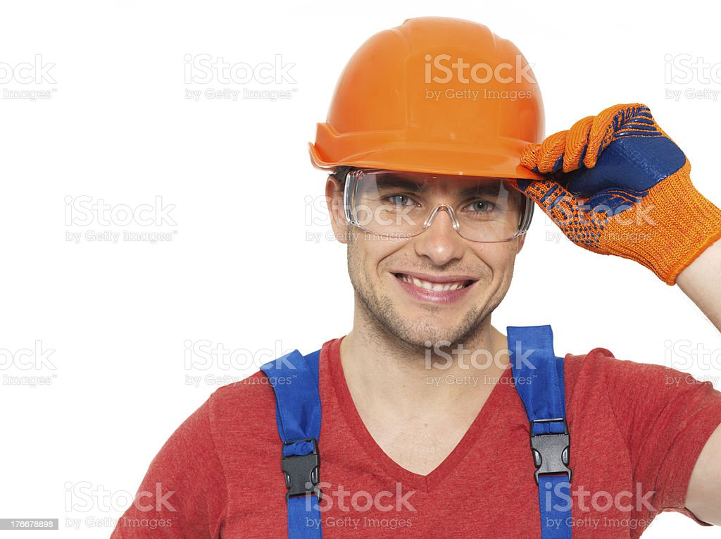 Portrait of happy handyman in uniform royalty-free stock photo