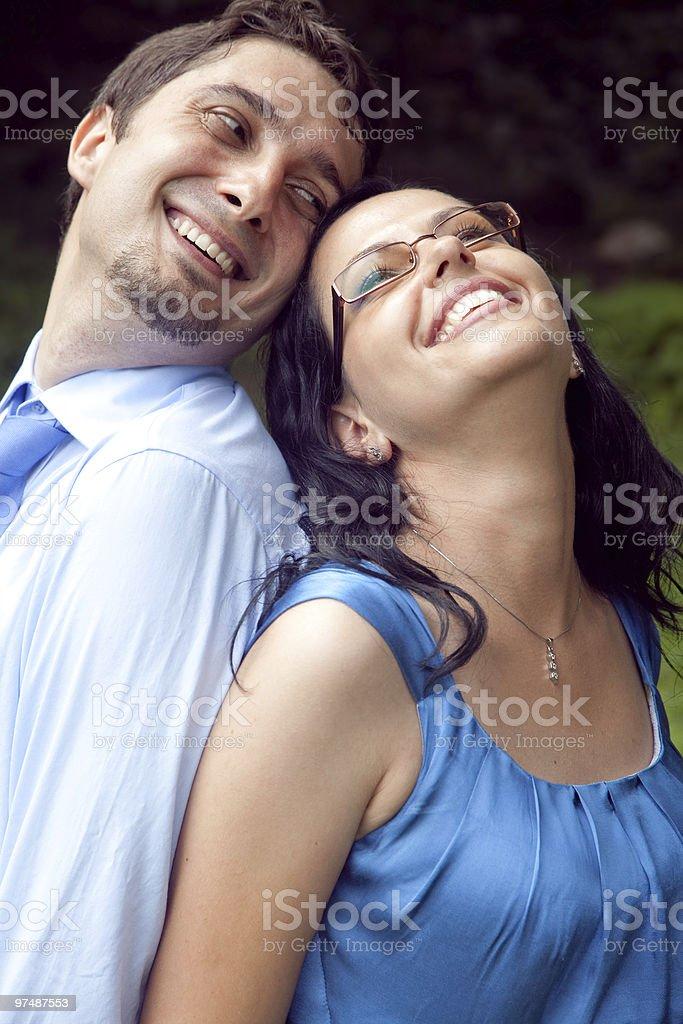 Portrait of happy joyful playful couple royalty-free stock photo