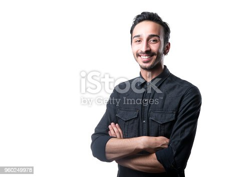 istock Portrait of happy laughing man looking at camera 960249978