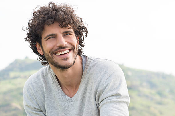 portrait of happy laughing man - handsome people stock photos and pictures