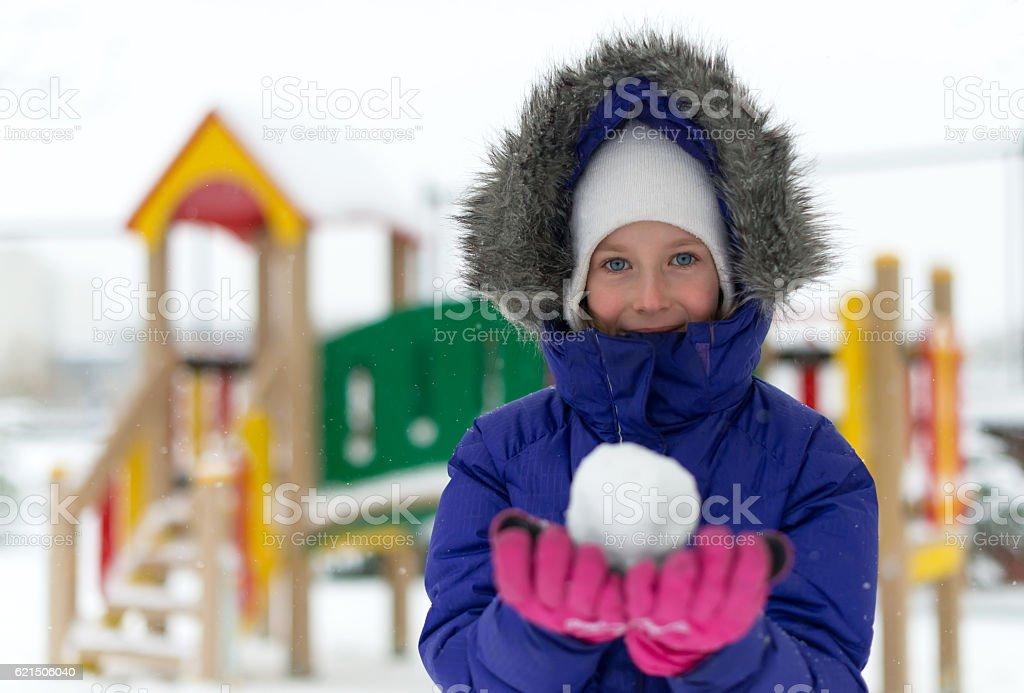 Portrait of happy little girl in winter time. foto stock royalty-free