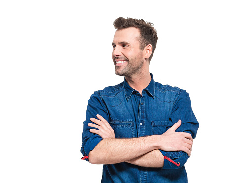 Portrait Of Happy Man Wearing Jeans Shirt Stock Photo - Download Image Now