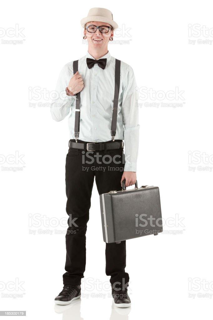 Portrait d'un homme heureux avec une valise - Photo