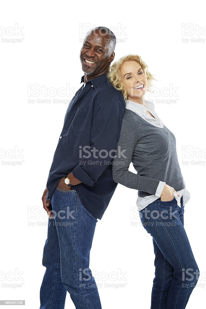 Portrait of happy mature couple standing together stock photo