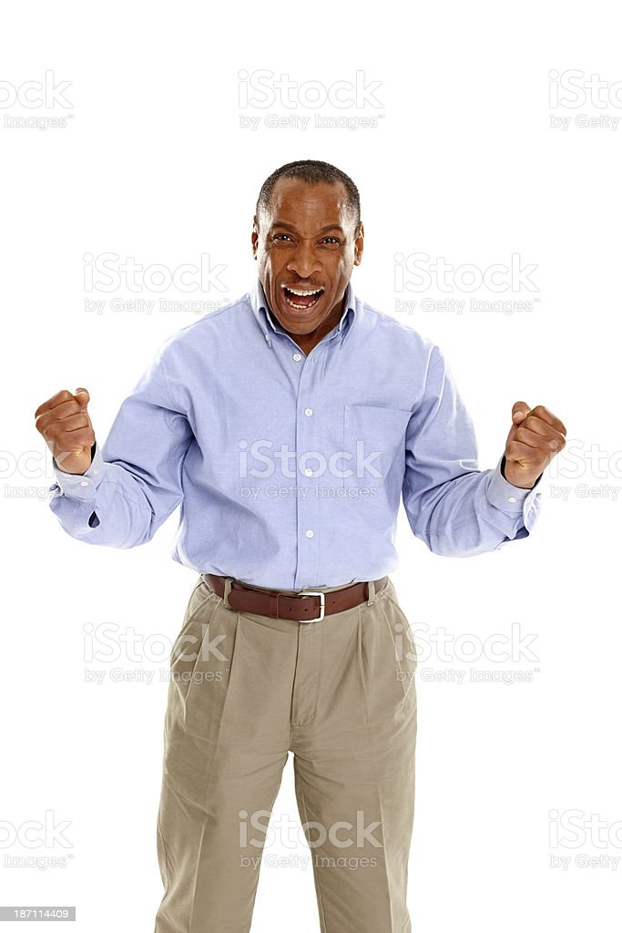 Portrait of happy mature man cheering royalty-free stock photo