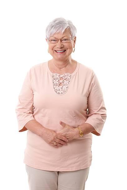 Portrait of happy mature woman stock photo