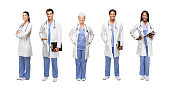 Portrait of happy medical professional isolated over white