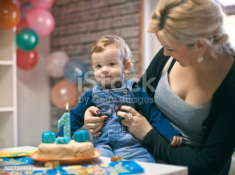 istock portrait of happy mom and baby with birthday cake 502724444