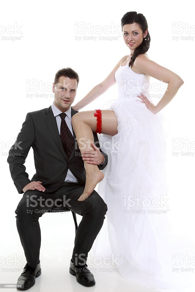 Portrait of happy newly married couple bride and groom stock photo