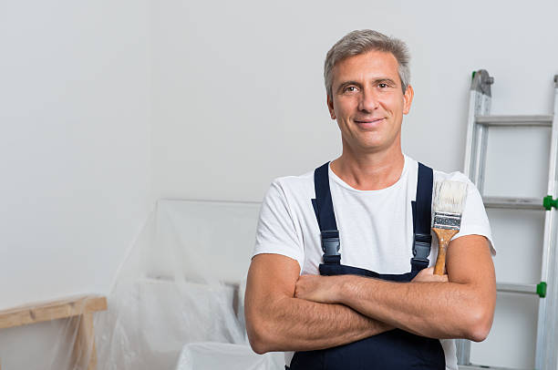 portrait of happy painter - painter stock photos and pictures