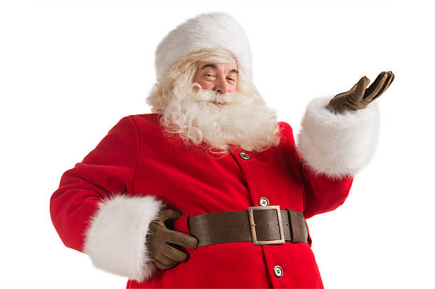 Portrait of happy Santa Claus Portrait of happy Santa Claus isolated on white background presenting, greeting, welcoming religious saint stock pictures, royalty-free photos & images