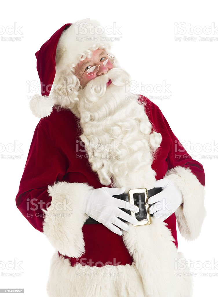 Portrait Of Happy Santa Claus With Hands On Stomach royalty-free stock photo
