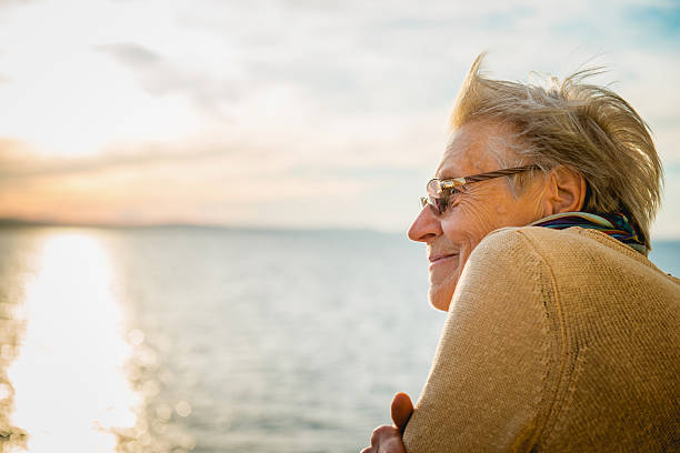 Portrait of Happy Senior Caucasian Woman on Ferry, Croatia, Europe stock photo