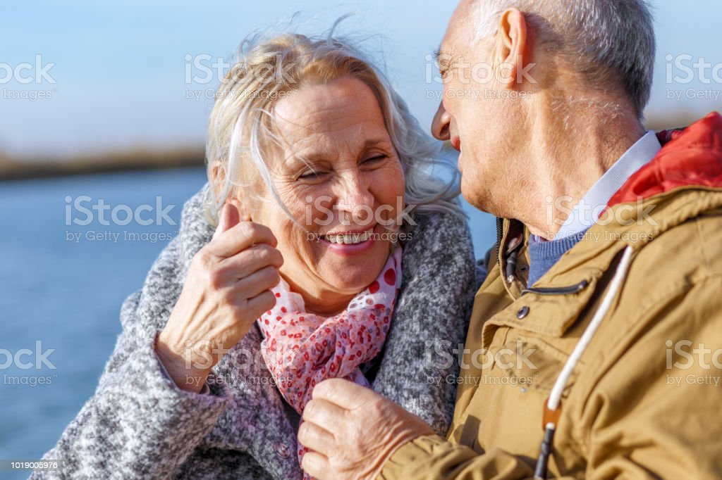Portrait of happy senior couple. stock photo