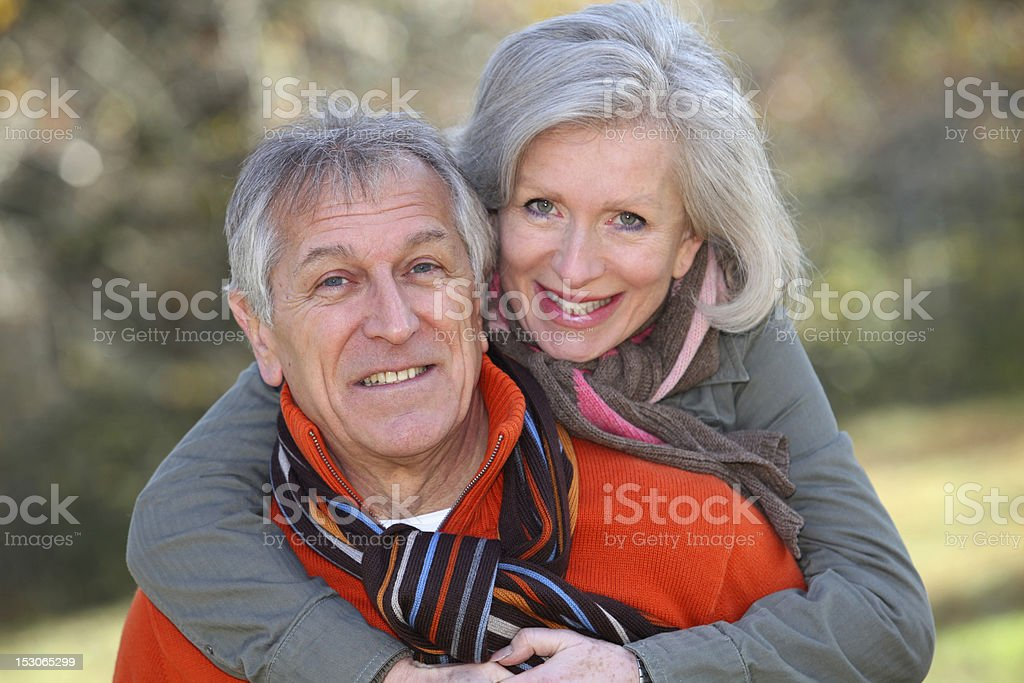 Portrait of happy senior couple royalty-free stock photo