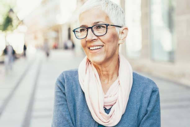 Portrait of Happy Senior Lady stock photo