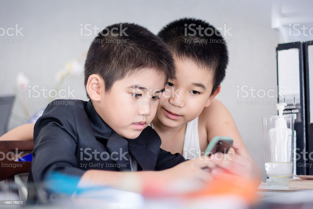 Portrait of happy smile little business boy stock photo