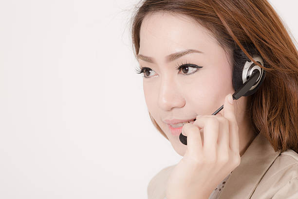 Porträt von glücklichen Lächeln fröhlich unterstützen Telefon operator in hea – Foto