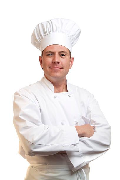 Porträt von glücklich lächelnd Koch in Köchen Hut und uniform – Foto