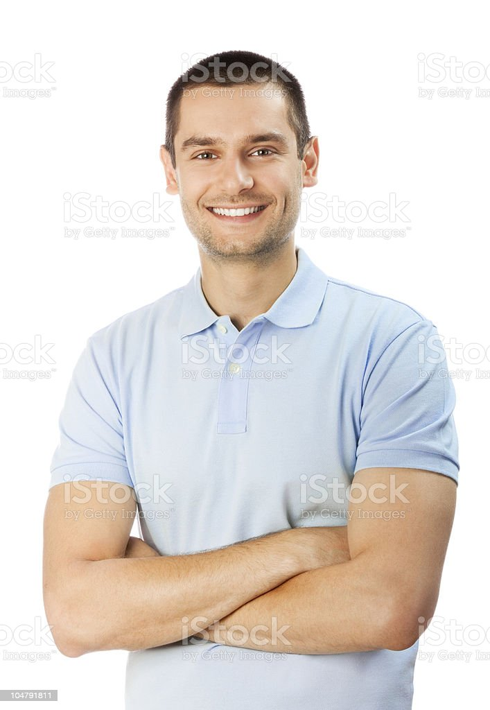 Portrait of happy smiling man, isolated on white royalty-free stock photo