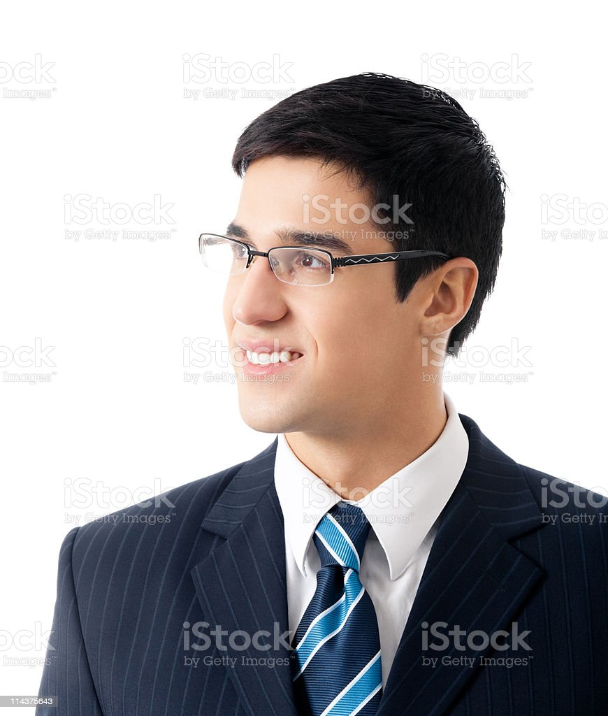 Portrait of happy smiling successful business man, isolated royalty-free stock photo