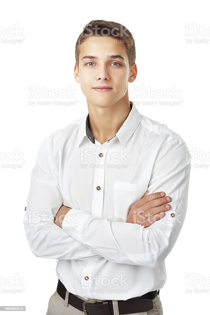 Portrait of happy smiling young man wearing a white shirt stock photo