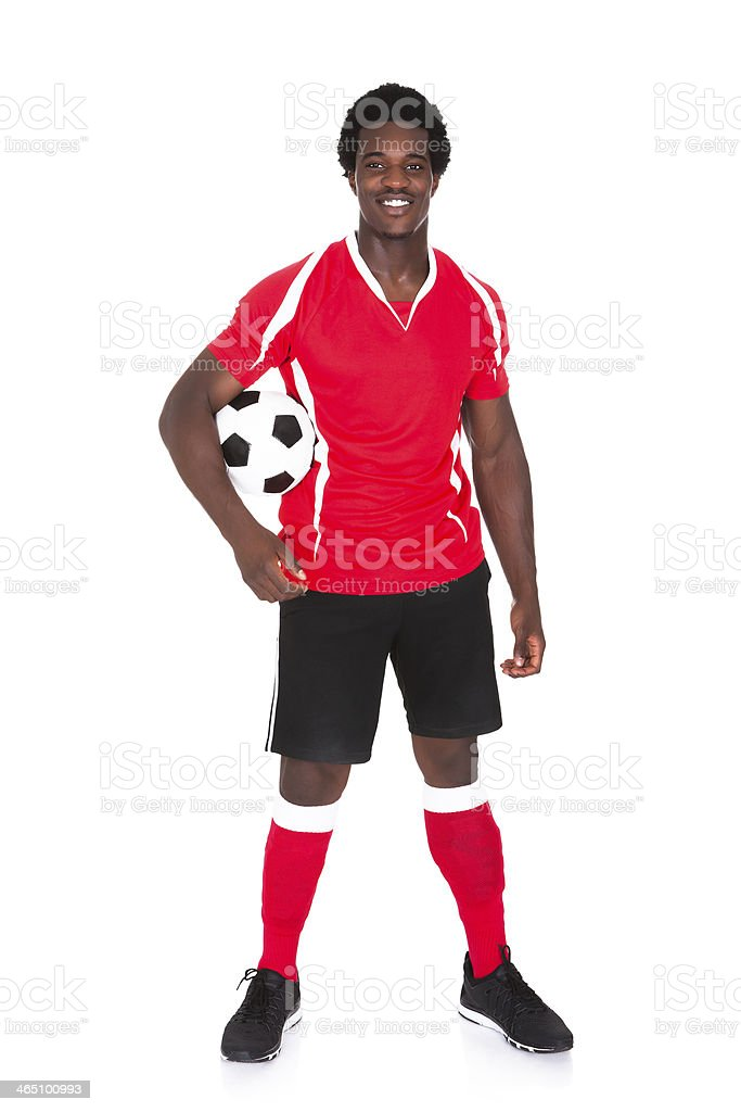 Portrait Of Happy Soccer Player stock photo