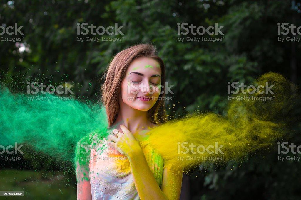 Portrait of happy woman on holi color festival Lizenzfreies stock-foto