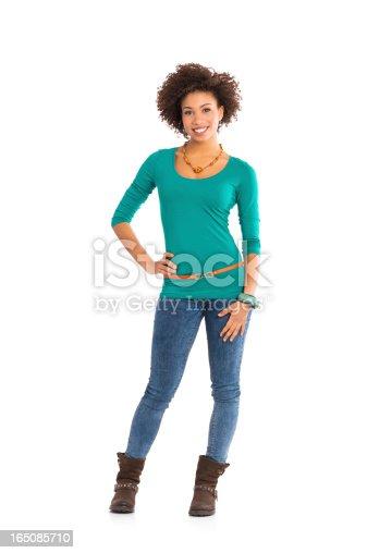 166407266 istock photo Portrait Of Happy  Woman Standing 165085710