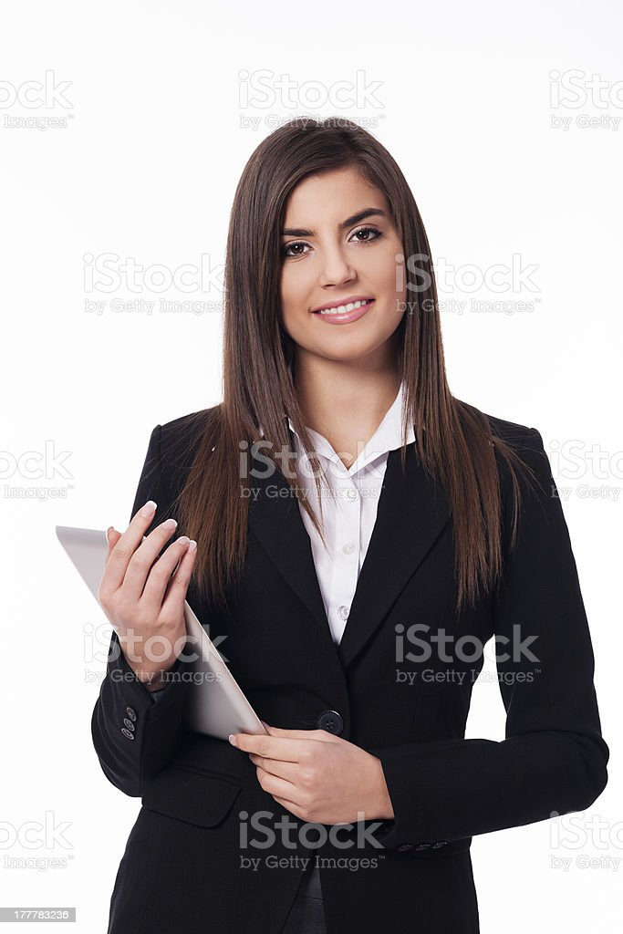 Portrait of happy woman with digital tablet royalty-free stock photo