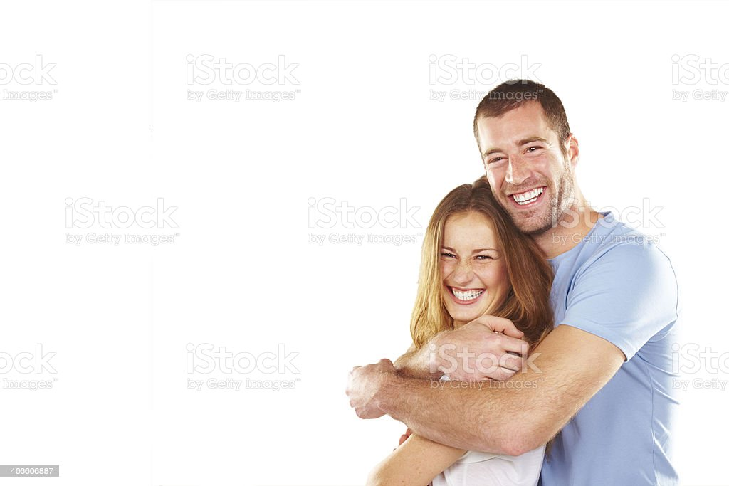Portrait of happy young couple stock photo