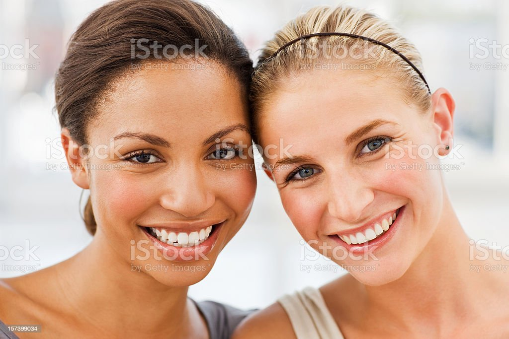 Portrait of happy young friends royalty-free stock photo
