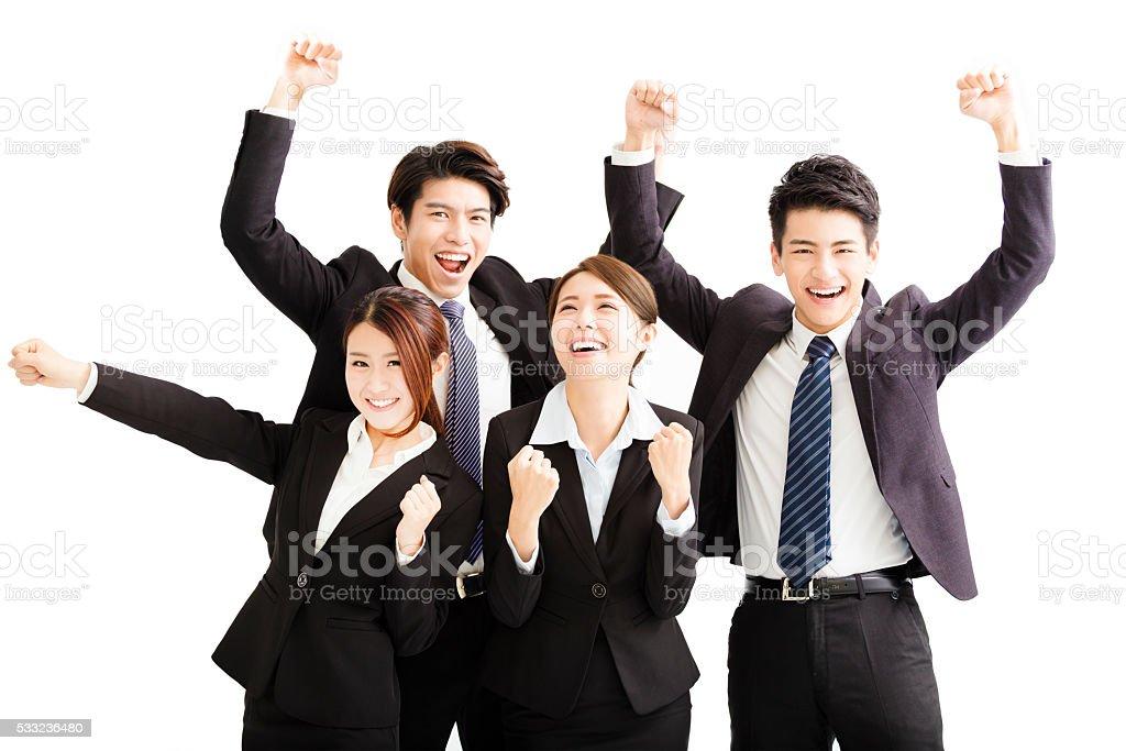 Retrato de jovem feliz bem sucedida equipe de negócios - foto de acervo