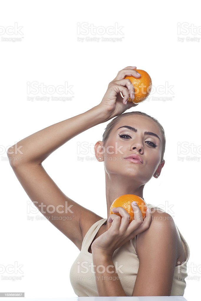 Portrait of happy young woman with juice royalty-free stock photo