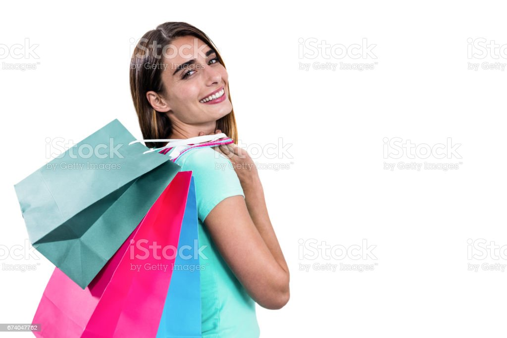 Portrait of hapy woman holding shopping bags royalty-free stock photo