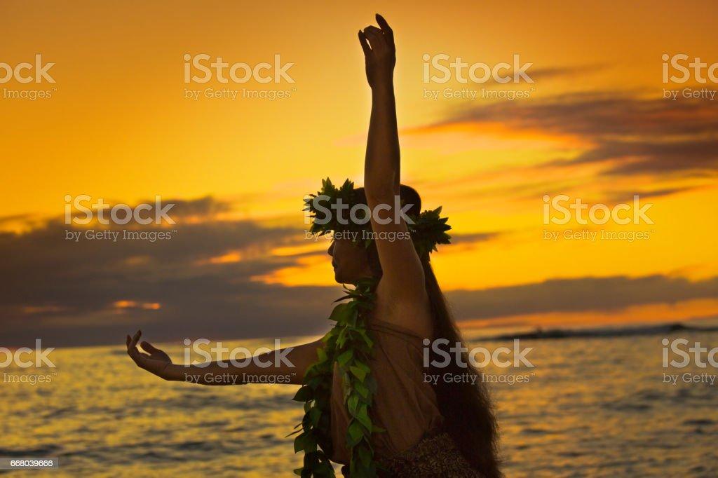Retrato de bailarina de Hula hawaiana en la playa al atardecer - foto de stock