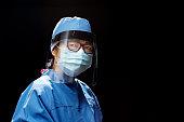 istock portrait of Healthcare Worker wearing face shield 1224894742