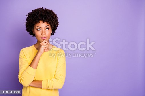 Portrait of her she nice attractive charming lovely creative wavy-haired girl creating strategy brainstorming isolated over violet purple, lilac pastel color background